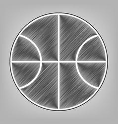 Basketball ball sign pencil vector