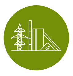 Biomass power station icon in thin line style vector