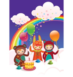 birthday with friends vector image vector image