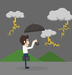 Businessman with umbrella standing in the rain vector