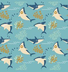 cartoon angry sharks seamless pattern vector image vector image