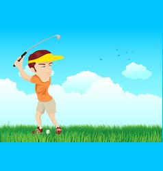 cartoon of a golfer vector image