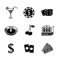 Casino gambling monochrome icons set with - dice vector image