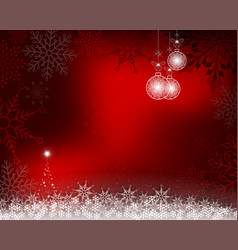 christmas red background with white balls vector image