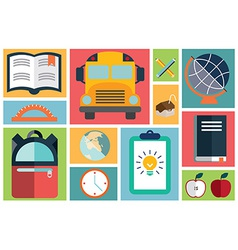 Collection of school items icons flat design long vector image