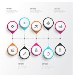 combat outline icons set collection of cranium vector image vector image