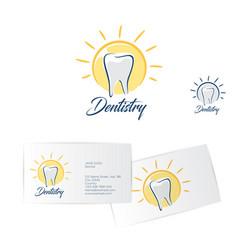 Dentistry logo dentist business card vector