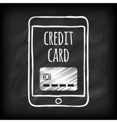 Doodle touch pad with credit card vector image