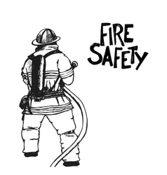 Firefighter with a hose sign vector image vector image