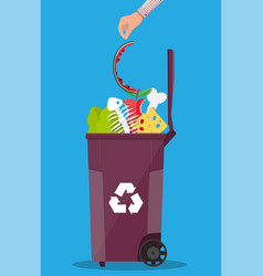 Garbage bin container full of junk food vector