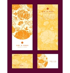 golden art flowers vertical frame pattern vector image