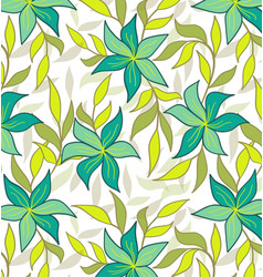 green flowers-seamless-pattern vector image