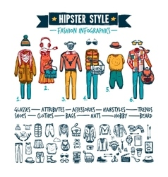 Hipster fashion clothing infographic doodle banner vector
