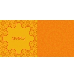 Invitation card design Ornamental orange flyer Art vector image vector image