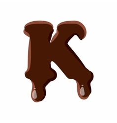 Letter K from latin alphabet made of chocolate vector image vector image