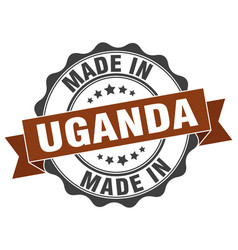Made in uganda round seal vector