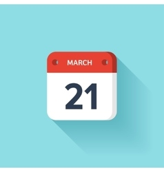 March 21 isometric calendar icon with shadow vector