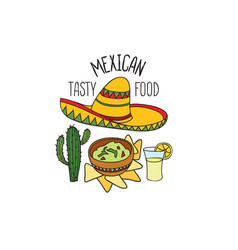 mexican food symbol set fastfood sign guacamole vector image