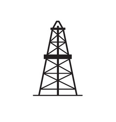 Oil derrick silhouette icon in flat style vector