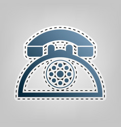 Retro telephone sign blue icon with vector