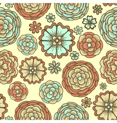 Seamless background with doodle flowers vector image vector image