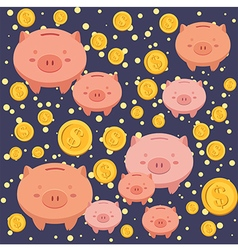 Seamless pattern piggybank blue vector