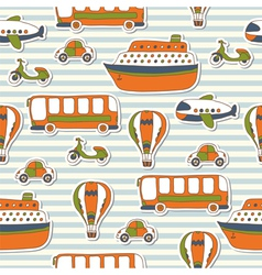 Seamless pattern with colorful transport vector image vector image