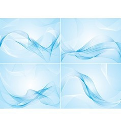 Set of abstract blue backgrounds vector image vector image