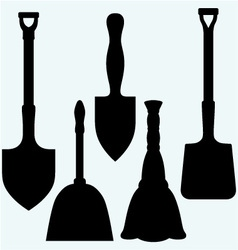 Shovels broom and dustpan vector image