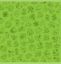 Tea seamless background with thin line icons - vector