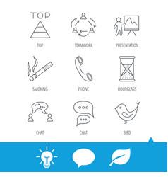 Teamwork presentation and phone call icons vector