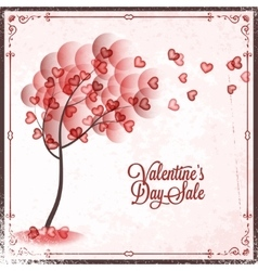 Valentines day sale vintage card background vector