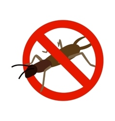 Warning sign with beetle icon isometric 3d style vector image