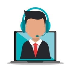 Man headphone avatar call center design vector