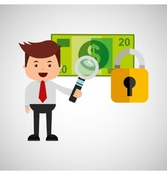 Business man secure banknote search money vector