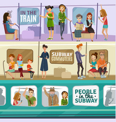 Subway people banners set vector