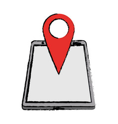 drawing smartphone pin map location gps vector image
