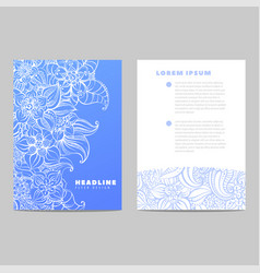 invitation card with blue pattern vector image