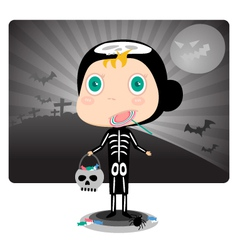 Skeleton Kids Halloween Costumes vector image