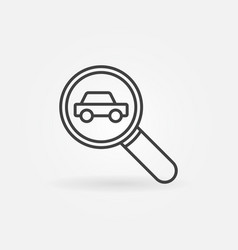 Car in magnifying glass icon vector