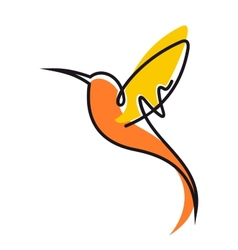 Flying hummingbird in yellow and orange vector