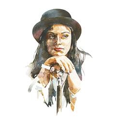 watercolor portrait of women in a hat vector image