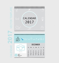 2017 Calendar planner design monthly calendar vector image