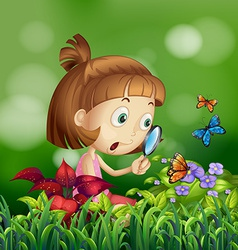 Girl and butterflies vector