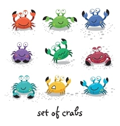 Cute crabs funny characters vector