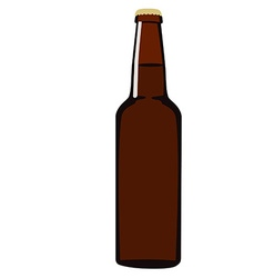 Brown beer bottle vector