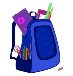 Schoolbag with notebook eraser pencils ruler vector