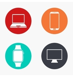 Modern gadget colorful icons set vector