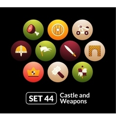 Flat icons set 44 - castle and wepon vector