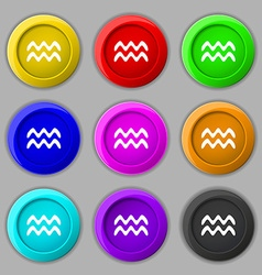 Aquarius icon sign symbol on nine round colourful vector